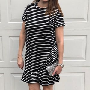 Striped ruffles dress
